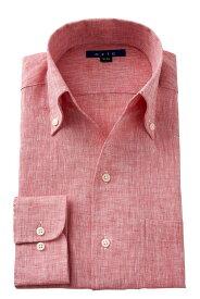 クールビズ 麻100% イタリアンカラー スキッパー|ワイシャツ メンズ シャツ 高級 ビジネス おしゃれ ドレスシャツ リネン ボタンダウンシャツ 長袖 リネンシャツ カッターシャツ 夏 涼しい ビジネスシャツ ボタンダウン yシャツ 赤シャツ 麻 テレワーク フレンチリネン 在宅