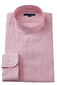 麻100% スタンドカラーシャツ | ワイシャツ メンズ シャツ おしゃれ ドレスシャツ ノーネクタイ スタンドカラー リネン 長袖 マオカラー リネンシャツ ピンク カッターシャツ ビジネスシャツ