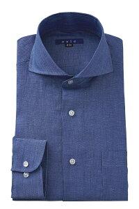 送料無料 麻100% リネン100% ホリゾンタルカラー カッタウェイ ドレスシャツ スリム カッターシャツ Yシャツ ビジネス リネンシャツ ブルー 青 高級 長袖   ワイシャツ メンズ シャツ おしゃれ