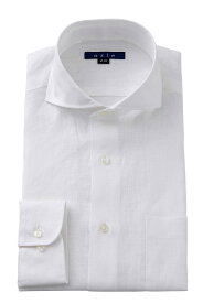 クールビズ 麻100% ホリゾンタルカラー カッタウェイ ドレスシャツ 長袖 高級 ワイシャツ タイトフィット スリム カッターシャツ Yシャツ ビジネス リネンシャツ 白 | シャツ メンズ おしゃれ リネン 大きいサイズ ビジネスシャツ ホリゾンタル メンズドレスシャツ 父の日