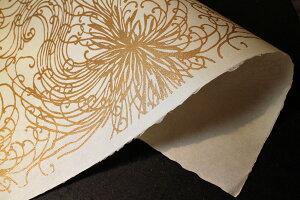 伊予 ギルディング和紙 C 糸菊 混合箔黄