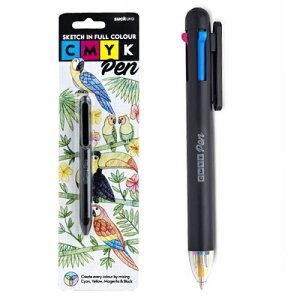 CMYK ボールペン SUCK UK 4色 シアン マゼンダ イエロー ブラック 塗り絵 スケッチ