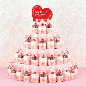 ラブリーカップケーキタワー ケーキタオル38個セット(プレーン&チョコ)│プチギフト プレゼント ウェルカムボード 名入れ 結婚式 2次会 ウェディング ハンドタオル 個包装 実用的 かわ