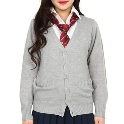 TeensEverカーディガン(杢グレー)L[女子高生カーディガンベストコスプレ制服]【A-1440_864257】