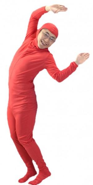 【1点までメール便も可能】 全身タイツ・赤 L  [コスプレ・モジ男・全身衣装・仮装グッズ・イベント・宴会]【A-0084_174033】