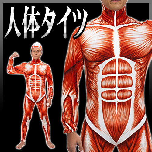 【1点までメール便も可能】 人体タイツ  [全身タイツ 人体模型 進撃の巨人 コスプレ 人体解剖 コスチューム ハロウィン イベント 衣装]【A-1373_170066】