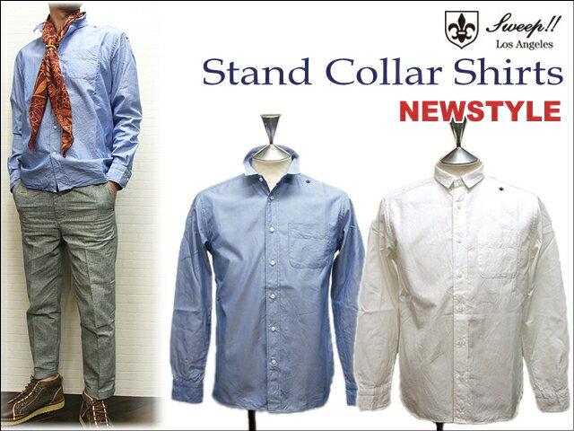 セール!【ちょい丈長!】スウィープ スタンドカラーシャツ(Sweep Stand collar Shirts)