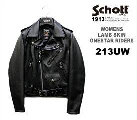 ショット レディースラム革ワンスターダブルライダース213UW (Schott WOMEN'S ONESTAR RIDERS LAMBSKIN)