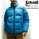 ショット ハイブリッド ダウン ジャケット / Schott HYBRID DOWN JACKET (80年代風オーバーサイズダウンジャケット、保温性 冬アウター 中綿 大きいサイズメンズアウター)