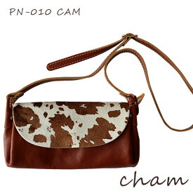 【 日本製 】 cham ( チャム ) PONY ( ポニー ) PONY PLUMP BAG / キャメル PN-010 CAM ハラコ 革 ( レザー ) ショルダーバッグ .