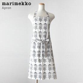 marimekko ( マリメッコ ) VIHKIRUUSU ( ヴィヒキルース )大人用 エプロン / ホワイト×ブラック 【 正規販売店 】【 日本限定 】.
