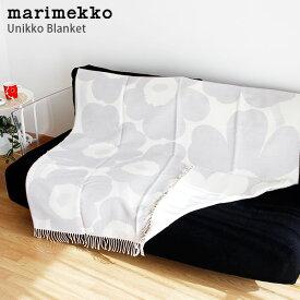 marimekko ( マリメッコ ) Unikko ウニッコ ブランケット 大判 / ホワイト×ライトグレー 「ラッピング・のし不可」 【 正規販売店 】.