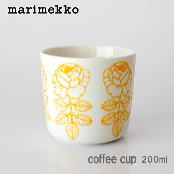 marimekko ( マリメッコ ) ラテマグ 【 単品 】 Vihkiruusu ( ヴィヒキルース )カップ 200ml / ホワイト×イエロー .