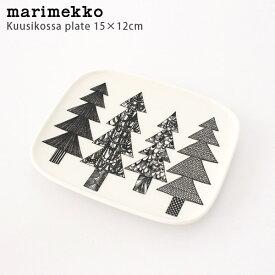 marimekko ( マリメッコ ) Kuusikossa ( クーシコッサ ) スクエア プレート 15×12cm / ホワイト×ブラック 【 正規販売店 】