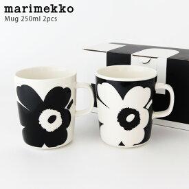 marimekko ( マリメッコ ) Juhla Unikko ( ウニッコ ) マグカップ 250ml 2個セット / ブラック&ホワイト 70周年アニバーサリーコレクション 【 正規販売店 】