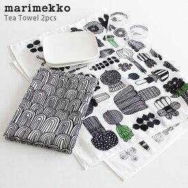 【 メール便 可 】 marimekko ( マリメッコ ) Puutarhurin ( プータルフリン ) キッチンタオル Tea towel ( ティータオル ) 2枚セット / ホワイト×ブラック 【 正規販売店 】.