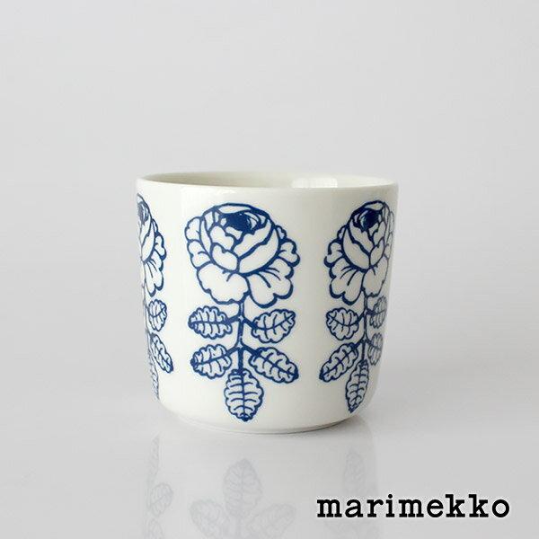 marimekko ( マリメッコ ) マグカップ 200ml Vihkiruusu ( ヴィヒキルース )ラテマグ 【 単品 】/ ホワイト×ブルー .