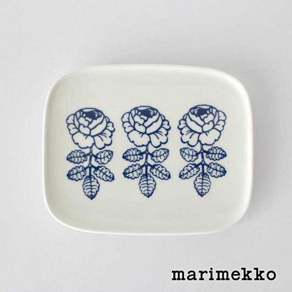 marimekko ( マリメッコ ) VIHKIRUUSU ( ヴィヒキルース ) プレート 15x12cm / ホワイト×ブルー .