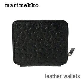 marimekko ( マリメッコ ) ラウンドファスナー 財布 MINI UNIKKO ( ミニウニッコ ) レザー ウォレット PETRA 革 / ブラック .