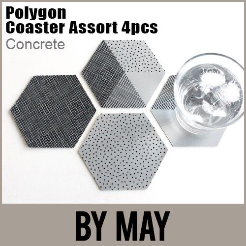 【 メール便 可 】 BY MAY ( バイ メイ ) 六角形 Polygon Coaster ( ポリゴン コースター ) アソート4枚セット / コンクリート  .
