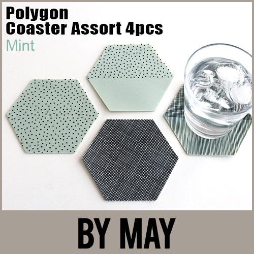 【 メール便 可 】 BY MAY ( バイ メイ ) 六角形 Polygon Coaster ( ポリゴン コースター ) アソート4枚セット / ミント  .