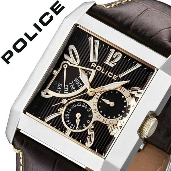 【5年保証対象】ポリス 腕時計 POLICE 腕時計 ポリス 時計 POLICE 時計 ポリス腕時計 POLICE腕時計 ポリス時計 POLICE時計 キングス アベニュー KING'S AVENUE メンズ ブラック 13789MS-12 革ベルト ブラウン 茶 銀 金 送料無料[ 父の日 父の日ギフト ]