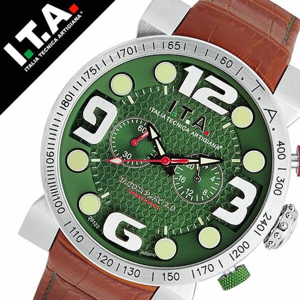【5年保証対象】アイティーエー 腕時計 I.T.A. 腕時計 アイティーエー 時計 I.T.A. 時計 ITA ITA腕時計 ITA時計 ビーコンパックス B.COMPAX 2 メンズ グリーン 18.00.01 革 ベルト クロノグラフ 正規品 イタリア ブランド ファッション ブラウン 送料無料