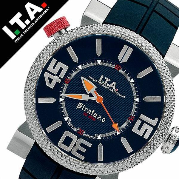 【5年保証対象】アイティーエー 腕時計 I.T.A. 腕時計 アイティーエー 時計 I.T.A. 時計 ITA ITA腕時計 ITA時計 ピラータ Pirata 2 メンズ ブラック 20.00.04 ラバー ベルト 正規品 イタリア ブランド ファッション 防水 ダイバー ブルー ネイビー 送料無料