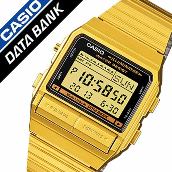 カシオ腕時計 CASIO時計 CASIO 腕時計 カシオ 時計 データバンク DATA BANK グレー DB-380G-1 [人気 ブランド 防水 デジタル ステンレス ベルト 液晶 ゴールド][ギフト バーゲン プレゼント ご褒美][おしゃれ 腕時計][ 父の日 父の日ギフト ]