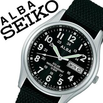 精工阿魯巴手錶[SEIKO ALBA鐘表]精工阿魯巴[SEIKOALBA]阿魯巴鐘表/阿魯巴手錶/人/黑色AEFD557[正規的物品/防水/太陽能/銀子/尼龍皮帶/簡單][白色情人節]