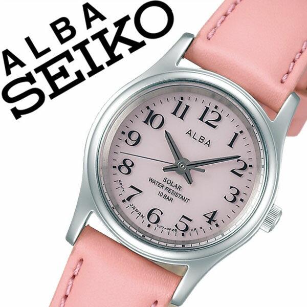 セイコーアルバ腕時計 SEIKOALBA時計 SEIKO ALBA 腕時計 セイコー アルバ 時計 レディース ピンク AEGD560 [カーフ ベルト 正規品 防水 ソーラー シルバー シンプル][ギフト バーゲン プレゼント ご褒美][おしゃれ 腕時計]