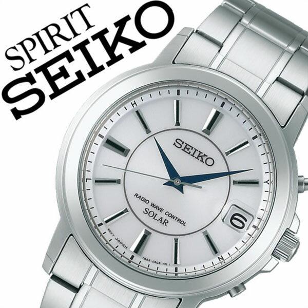 【5年保証対象】セイコー スピリット 腕時計 SEIKO SPIRIT 時計 セイコースピリット 時計 SEIKOSPIRIT 腕時計 セイコー スピリット時計 SEIKO SPIRIT時計 メンズ ホワイト SBTM219 スピリッツ メタル ベルト ソーラー 電波 ペア ウォッチ シルバー 送料無料
