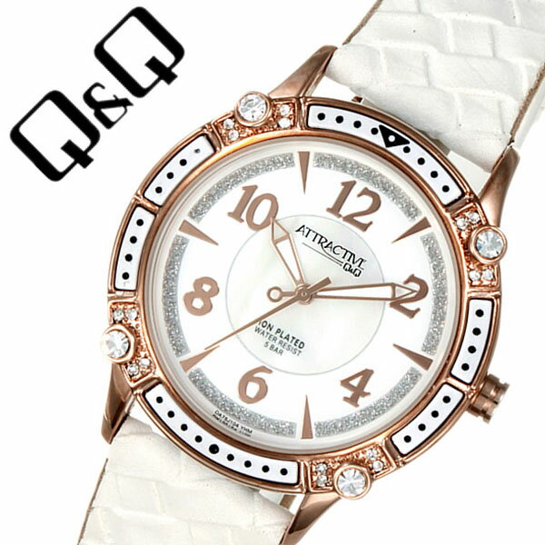 キューアンドキュー 腕時計 [Q&Q時計]( Q&Q 腕時計 キューアンドキュー 時計 ) アトラクティブレディース ホワイト [人気 流行 ブランド 海外モデル 防水 レザー ベルト 革 かわいい 白蝶貝 ピンクゴールド][バーゲン プレゼント ギフト][ 母の日 ギフト 母の日 プレゼント ]