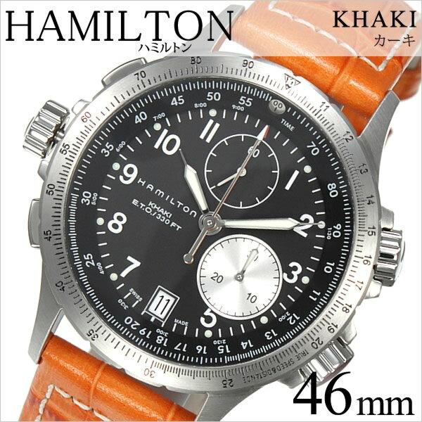 ハミルトン 腕時計 [HAMILTON時計]( HAMILTON 腕時計 ハミルトン 時計 ) カーキ アビエーション ( KHAKI ETO ) メンズ 腕時計 ブラック H77612933 [革 ベルト クロノグラフ クオーツ 新作 防水 ブランド オレンジ シルバー][プレゼント バーゲン][おしゃれ 腕時計]