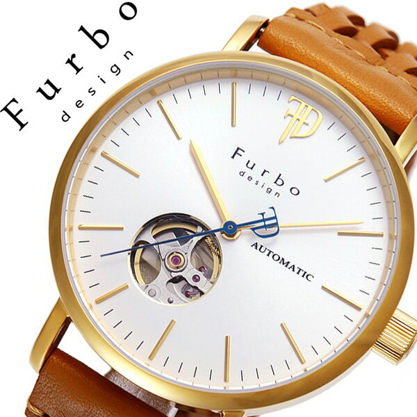 【5年保証対象】フルボデザイン 腕時計 Furbodesign 時計 フルボ デザイン 時計 Furbo design 腕時計 メンズ ホワイト F2002YSILB 革 ベルト 正規品 機械式 自動巻 メカニカル おしゃれ オートマチック ライト ブラウン ゴールド 送料無料[ 父の日 父の日ギフト ]