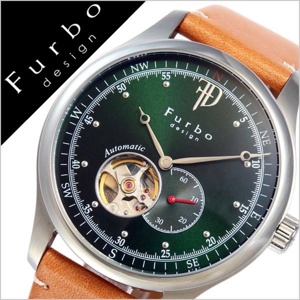 【5年保証対象】フルボデザイン 腕時計 Furbodesign 時計 フルボ デザイン 時計 Furbo design 腕時計 メンズ グリーン F5030SGRLB 革 ベルト 正規品 機械式 自動巻 メカニカル おしゃれ オートマチック ブラウン シルバー 送料無料[ 父の日 父の日ギフト ]