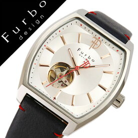 【5年保証対象】フルボデザイン 腕時計 Furbodesign 時計 フルボ デザイン 時計 Furbo design 腕時計 メンズ シルバー F8201SSINV 正規品 人気 新作 ブランド 防水 レザー 革 機械式 自動巻き スケルトン トノー ミネラルガラス ネイビー 送料無料