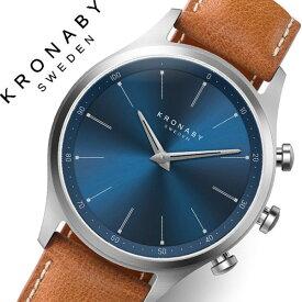 [当日出荷] クロナビー 腕時計 KRONABY 時計 クロナビー 時計 KRONABY 腕時計 セイケル SEKEL メンズ A1000-3124 ブルー レザー 革 北欧 スマートウォッチ ラウンド アプリ カレンダー GPS 高機能 アナログ ブルートゥース Bluetooth ビジネス シンプル コネクト ウォッチ