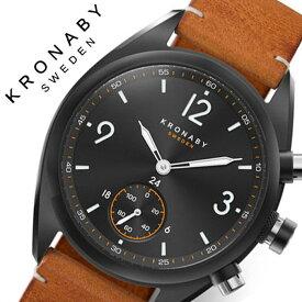 [当日出荷] クロナビー 腕時計 KRONABY 時計 エイペックス APEX メンズ ブラック A1000-3116 防水 スマートウォッチ スマートフォン スマホ SMART WATCH コネクトウォッチ 北欧 健康 充電不要 レザー 革 ベルト シンプル 仕事 スーツ ビジネス プレゼント ギフト