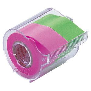 ヤマト メモック ロールテープ 蛍光紙 カッター付 25mm幅 ローズ&ライム NORK−25CH−6B 1個