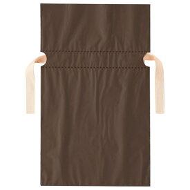 店研創意 ストア・エキスプレス 梨地リボン付ギフトバッグ ブラウン 17cm 1パック(20枚)