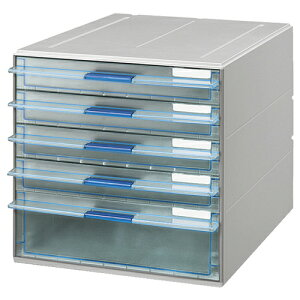 コクヨ レターケース(UNIFEEL) 透明引出しタイプ A4タテ 浅型4段・深型1段 ライトグレー LC−UNT605M 1台 【送料無料】