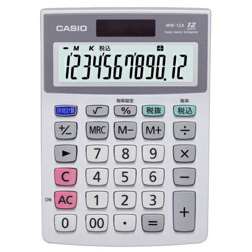カシオ 特大表示電卓 12桁 ミニジャストサイズ MW−12A−N 1台