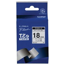 ブラザー ピータッチ TZeテープ ラミネートテープ 18mm 白/黒文字 TZE−241 1個