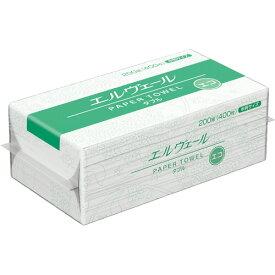 大王製紙 エルヴェール ペーパータオル エコ ダブル 中判 200組/パック 1セット(30パック) 【送料無料】
