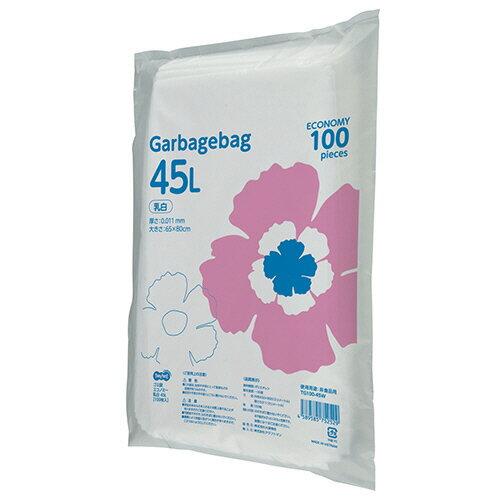 TANOSEE ゴミ袋エコノミー 乳白半透明 45L 1セット(1000枚:100枚×10パック) 【送料無料】