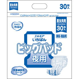 カミ商事 エルモア いちばん ビッグパッド 夜用 1セット(120枚:30枚×4パック) 【送料無料】