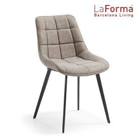 La Forma ADAH Chair BEIGE 2脚セット ラフォーマ バルセロナ チェア レザー ベージュ グレージュ ダイニングチェア メタル ブラック カフェ イス デザイナーズ[送料無料][LC-0003]pachakagu