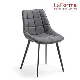 La Forma ADAH Chair DARK GRAY 2脚セット ラフォーマ バルセロナ チェア レザー ダークグレー ダイニングチェア おしゃれ メタル ブラック カフェ イス デザイナーズ[送料無料][LC-0002]pachakagu