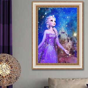 上級者向け フル ダイヤモンド刺繍 キット ビーズ刺繍 アナと雪の女王 エルサ ピンクドレス ディズニー モザイクアート パズルアート リハビリ 趣味 絵画